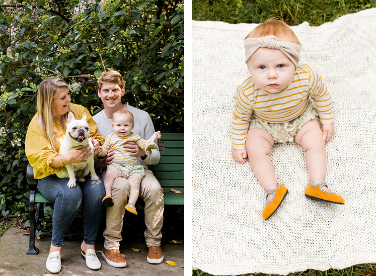 family sitting on a bench with a dog during family photo session